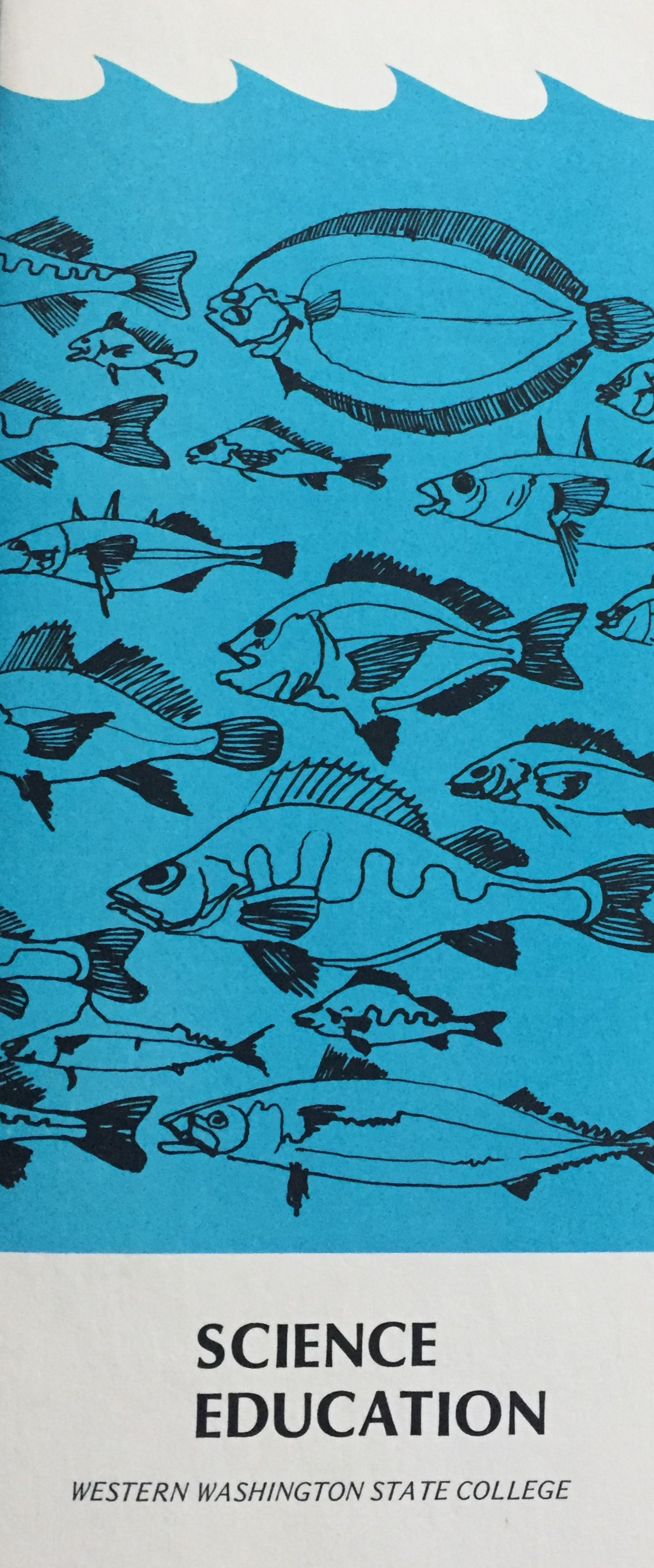 Picture of the original Science Education brocusre showing a line drawing of fish on a blue background