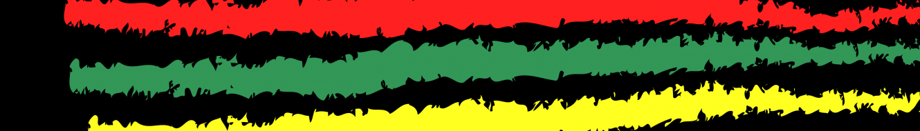 Red, green and yellow stripe on a black background